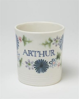 Rye Pottery - Hand-made and hand painted named Child's Mug - Bespoke Personalised Damson Floral