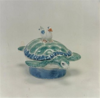 Rye Turtle Dish in Blues and greens