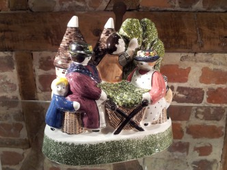Rye Pottery - English Ceramic Pastoral figures -The Hop Pickers and Oast House