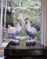 Rye Pottery - Ceramic Chickens Blue