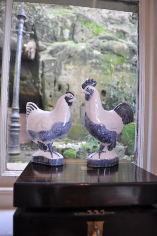 Rye Pottery - Ceramic Chickens Blue
