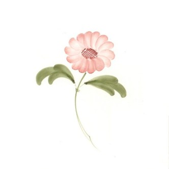 Rye Pottery Hand-painted Flower Tiles Chrysanthemum