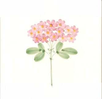 Rye Pottery Hand-painted Flower Tiles Lacecaps