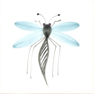 Hand painted Dragonfly Tiles Rye Pottery Black Turquoise Lavender