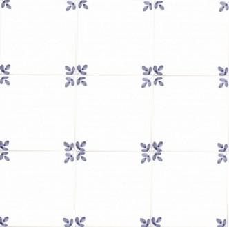 Rye Pottery - hand painted Corner Tiles - Leaf motif repeat pattern
