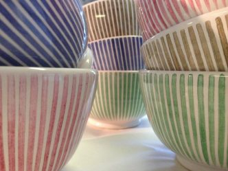 mous Hand-painted Stripes - Bowls - Candy in Pink, Green and Cobalt BlueFB 6