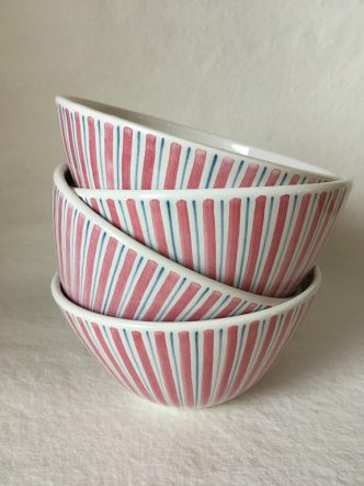 Rye Pottery hand-painted striped bowls ceramic for soup cereal pudding Flamingo Pink