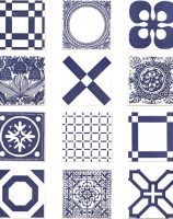 Screen Printed Tiles inglaze faience majolica Delft by Rye Pottery Cobalt Blue on White Reload - All Tiles