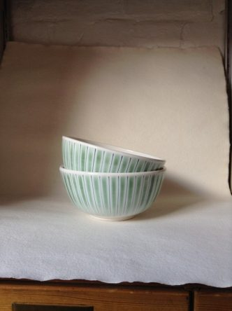The B8m pasta noodle bowl hand made and painted in Rye Pottery Cottage Stripe
