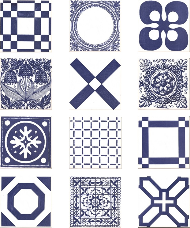 Screen Printed Tiles inglaze faience by Rye Pottery Cobalt Blue on White Reload