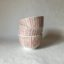 Rye Pottery Hand made and hand painted striped little bowls Cottage Stripe in Coral straight lines painted by hand2