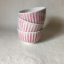 Rye Pottery Hand made and hand painted striped bowls Cottage Stripe in Flamingo Pink straight lines painted by hand4