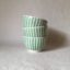 Rye Pottery Hand made and hand painted striped little bowls Cottage Stripe in Paris Green straight lines painted by hand3