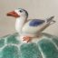 Rye Pottery Hand made and painted Ceramic Animal Figures The Turtle Dish with seagull perched on the back. A dish