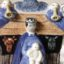 Rye Pottery Hand made and painted Pastoral Naive Ceramic Figures Small Naive Nativity Mary Joseph Jesus Sheep animals shepherds and angels