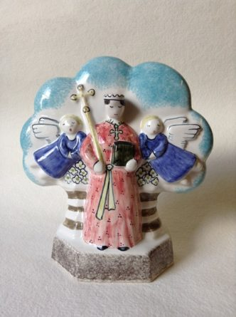 Rye Pottery Hand made and painted Pastoral Naive Ceramic Figures Small Female Virgin - Mary Mother of Jesus the Virgin Mary