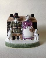 Rye Pottery Hand made and painted Pastoral Naive Ceramic Figures Small New England Settlers Colonial figures Frontier1