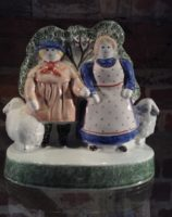 Rye Pottery Hand made and painted Pastoral Naive Ceramic Figures Small Shepherd Neame and his wife of Sussex English Farmer and his wife