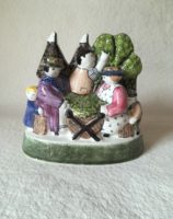 Rye Pottery Hand made and painted Pastoral Naive Ceramic Figures Small figure featuring hop picking in kent and sussex outside an oast house