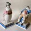 Rye Pottery Hand made and painted Prince George and Miss Fitzherbert Rowlinson Cartoons Brighton Pavilion ceramic