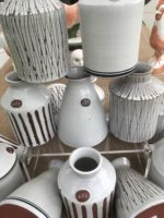 Rye Pottery Hand made and decorated Little Vases in Red Clay Sgraffito decoration and hand banded