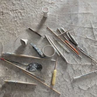 """After a period drying the pieces are """"fettled"""", trimmed and sponged to remove seams, rough areas and generally provide a perfect surface for painting."""