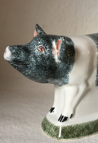 Farmer Country Pig Gift Rye Pottery Hand made and painted little pigs in Saddleback Black with white stripe 2