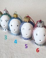 Hand made ceramic Bauble Gift Christmas decoration unusual gift - Rye Pottery Hand made and painted Bauble heads Gift Doll head bauble 5