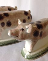 Pig Gift Rye Pottery Hand made and painted little pigs in pink with Brown spots