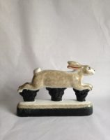 Rabbit Hare Gift Hunting Farming Rye Pottery Hand made and painted Running Hare
