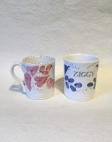 Rye Pottery Hand made and hand decorated childs mug Bespoke Hop Named in Blue and Pink